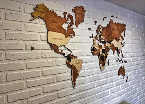 Amazon.com: Wood Map Wood Wall Art Wooden Map Wood World Map ...