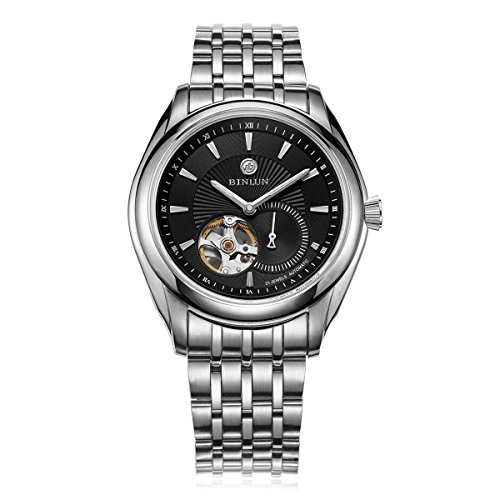 BINLUN Skeleton Watch Tourbillon Automatic Watches for Men Waterproof with Stainless Steel Bracelet by BINLUN
