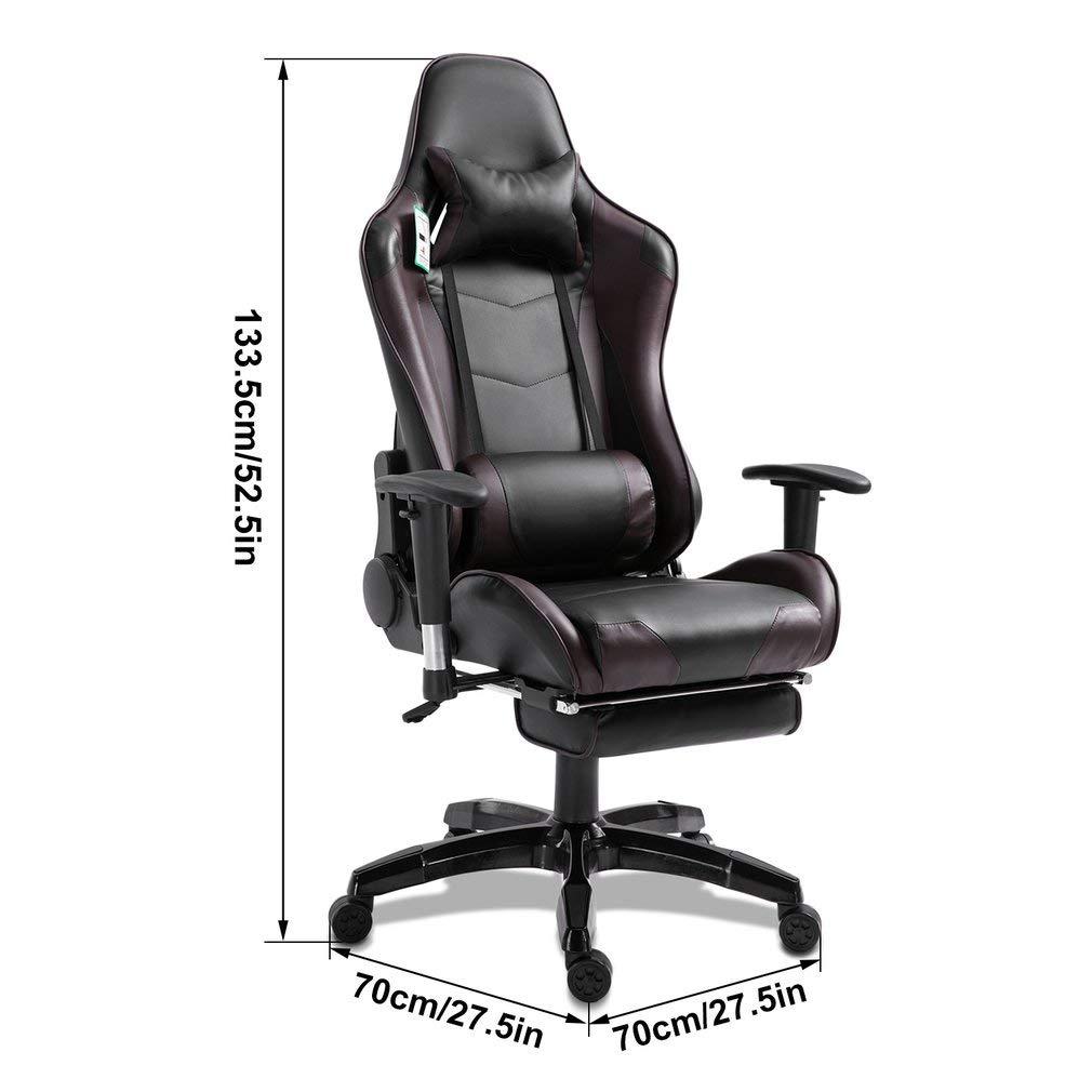 ALTERDJ Chaise de Gaming de Bureau pivotante avec 2 Coussins pour Fauteuil /à Dossier Haut et Repose-Pieds rembourr/és