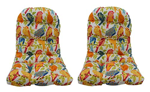 RSH Decor Indoor Outdoor Tufted Adirondack Chair Seat Cushion Back 26 H x 21 W Seat 21 W x 16.5 D – Choose Color and Quantity Ash Hill Garden Birds – White, 2