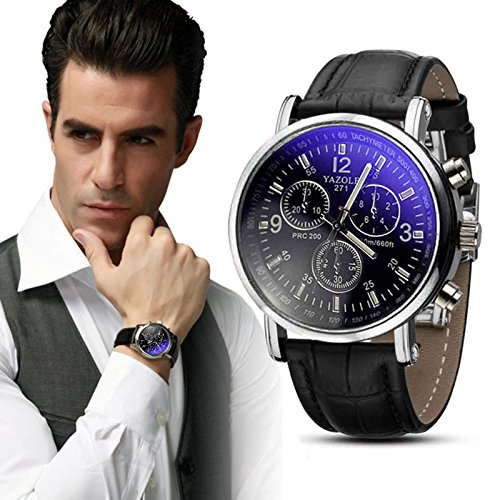 Wristwatches for Men Self-Winding Allochroic Luminous Hands Skeleton Mechanical Black Watch Chronograph,24 Hour Date Display Analog Quartz Casual Dress Sport Waterproof Blue Leather Band (E)