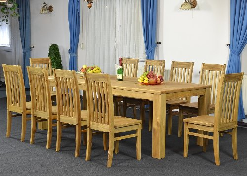 Essgruppe Tisch 240x100 + 10 x Stuhl Klassik, Farbton Brasil, Pinie massiv