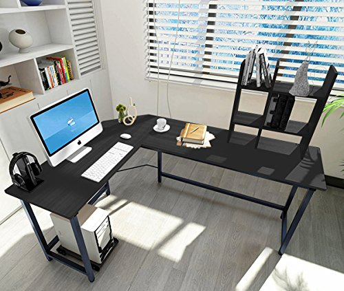 ELEVENS Modern L-Shaped Corner Desk Computer Office PC Laptop Table Home Office Study Table Workstation by GS