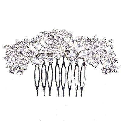 Boutique Wedding Silver Tone Leaf Rhinestone Bridal Hair Comb Crystal Hairpin Accessories