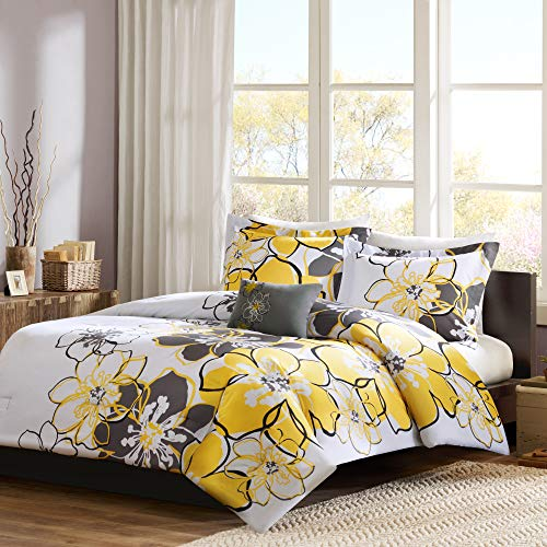 Mi Zone - Allison Comforter Set - Yellow - Full/Queen - Floral Pattern - Includes 1 Comforter, 1 Decorative Pillow, 2 Shams