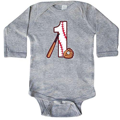inktastic Baseball First Birthday- Long Sleeve Creeper 18 Months Heather Grey