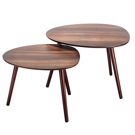 5ae2b9d104 Amazon.com: Bonnlo Nesting Tables Stacking Coffee/Side/End Tables for Living  Room, Home and Office, Set of 2, Walnut: Kitchen & Dining