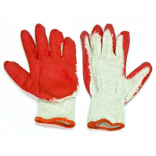 300 Pairs of Red Latex Palm Coated Work Safety Gloves, Rubber Palm Coated Safety Cotton Gloves,