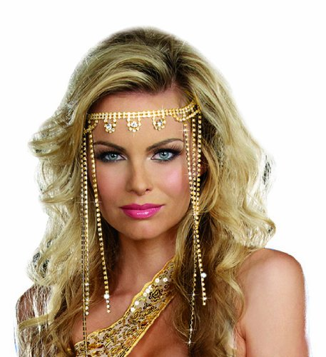 Egyptian Princess Halloween Costume (Dreamgirl Women's Shimmer Rhinestone Headpiece, Gold, One)