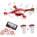 Aukwing Syma X5UW FPV RC Quadcopter Drone with Wifi HD 720P Camera App control and Altitude Hold Function for Beginner Red