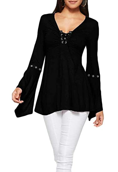 X-Future Women Solid V Neck Lace up Long Bell Sleeve Blouse Top Shirts at  Amazon Women s Clothing store  ef970172d