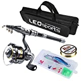 Telescopic Fishing Rod and Reel Combos Full Kit,Travel Portable Fishing Pole Reel Set,with Fishing Line Lures Hooks and Fishing Bag,Fishing Gear Organizer