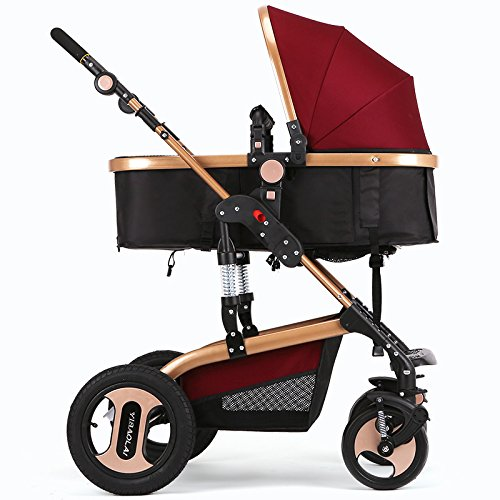 H&Z Luxury Newborn Baby Foldable Anti-shock High View Carriage Infant Stroller Pushchair Pram by Unknown