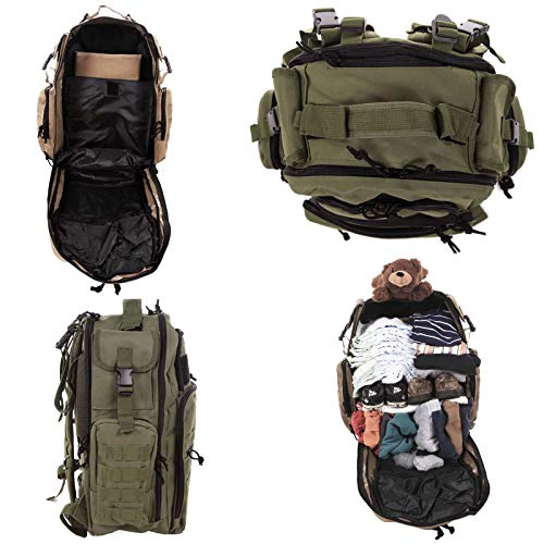 Diaper Bag Backpack by Exodus Gear + Adventure Diaper Bag with Changing Pad + Daddy Diaper Bag for Men and Woman + Hiking Diaper Bag + Dad Diaper Bag + Unisex Diaper Bag + Baby Care (Green) by Exodus Gear (Image #6)