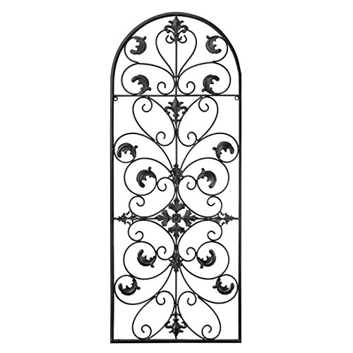 gbHome GH-6777 Metal Wall Decor, Decorative Victorian Style Hanging Art, Steel Décor, Window Arch Design, 16.5 x 41.5 Inches, Black (Patio Outdoor Ideas Decor Wall)