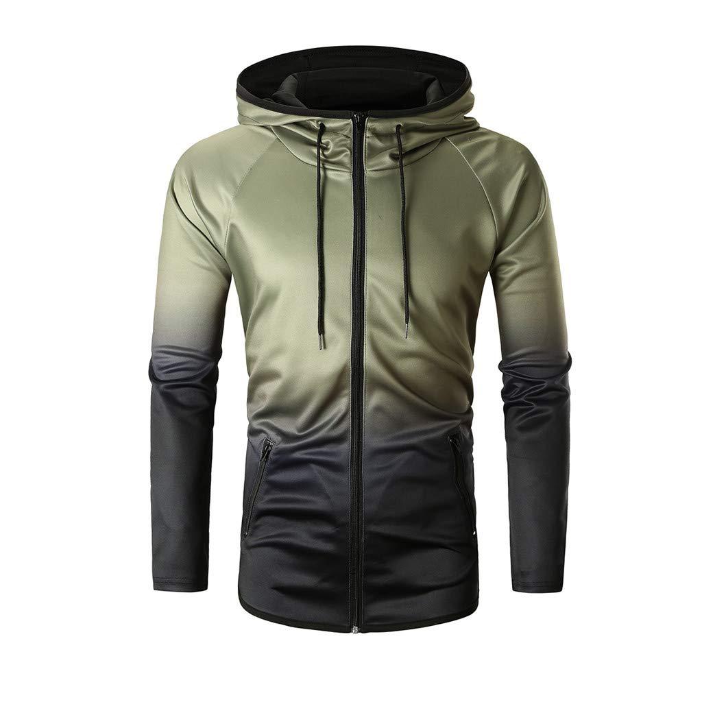 Palarn Mens Fashion Sports Shirts Fashion Mens Autumn Winter Packwork Graduated Slim Long Sleeve Hoodie Top Blouse