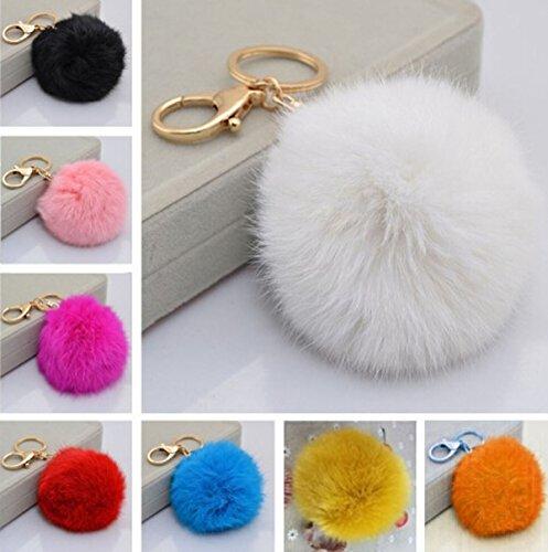 Plush Cell Phone Keychain - Fusicase Keychain, Style Stylish Cute Plush Genuine Ball Handbag Key Chain Cell Phone Car Pendant(Dark Blue)