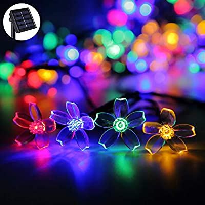 Darknessbreak Solar Flower String Lights Sakura lishts,23ft 50 LED Blossom Flower String Light Solar Power for Outdoor Garden,Lawn,Patio,Christmas Tree,Mother's Day Party Decorations.