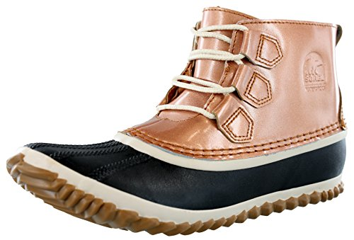 - Sorel Womens Out N About Rain All Weather Boot, Metallic-Penny/Natural, 7 B(M) US