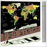 Scratch World Map Poster – Detailed World Map Scratch Off World Poster Modern Traveler Large XL Size Black – 32.5 x 23.4 Scratch Off World Map Flags US States Outlined Lux Design