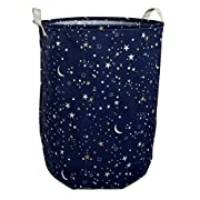 CLOCOR Large Storage Bin-Cotton storage Basket-Round Gift Basket with Handles for Toys,Laundry,Baby Nursery (Starry sky)