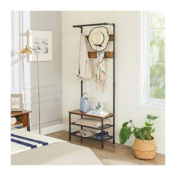 """VASAGLE URBENCE Hall Tree, Coat Rack Stand with Bench, Shoe Rack with 2 Mesh Shelves, Hallway, Living Room, Steel, Easy Assembly, Industrial Design, Rustic Brown UHSR37BX - OPPOSITES ATTRACT: Steel and engineered wood, rustic and industrial design, coat stand and shoe rack—this 26""""L x 12.8""""W x 72""""H hall tree is full of contrasts and yet ultimately forms a perfect unit STABILITY AT ITS BEST: We all know those wobbly coat racks that collapse when a coat is hung up. Thanks to the sturdy steel tubes, this coat rack always stands like a rock EVERYTHING ON THE HOOK: Your appointment starts in 20 minutes! It's a good thing that your jacket is hanging on one of the 7 hooks of this coat rack and your sneakers are standing on one of the two mesh shelves. Sit on the bench and quickly put on your shoes! - hall-trees, entryway-furniture-decor, entryway-laundry-room - 51bGiVIawGL. SS570  -"""