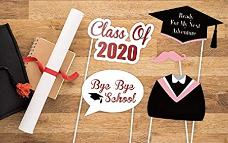 Black,Pink AIYANG 2020 Graduation Photomaton Fournitures Accessoires kit Lobtention du Dipl/ôme Partie Selfie Accessoires Graduation C/ér/émonie D/écorations