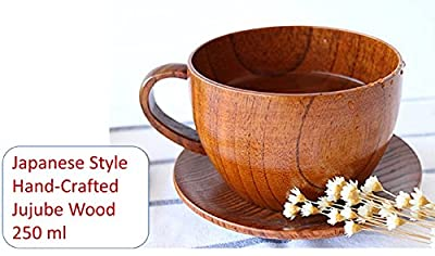 Classical Premium Gift - Natural Handmade Wooden Coffee Mug, Japanese Style for Coffee / Tea Cup or Soup Bowl with Handle and Wood Saucer 250 ml