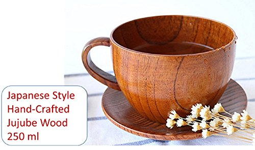 Classical Premium Gift - Natural Handmade Wooden Coffee Mug, Japanese Style for Coffee / Tea Cup or Soup Bowl with Handle and Wood Saucer 250 ml - Cup Wood