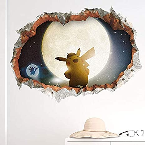 xuritaotao 3D Detective Pikachu Película Pegatinas Agujero De La ...