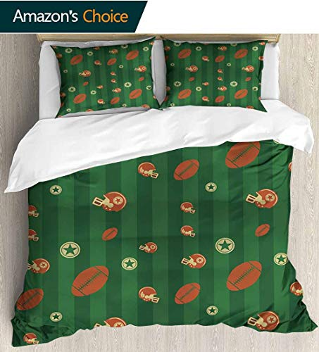 Tufted Rugby Hand Black - Football King Duvet Cover Set,Old Fashioned Composition with Green Stripes Rugby Icons Graphic Bedding Set Cover with 2 Pillow Shams Decorative Quilt Cover Set 79