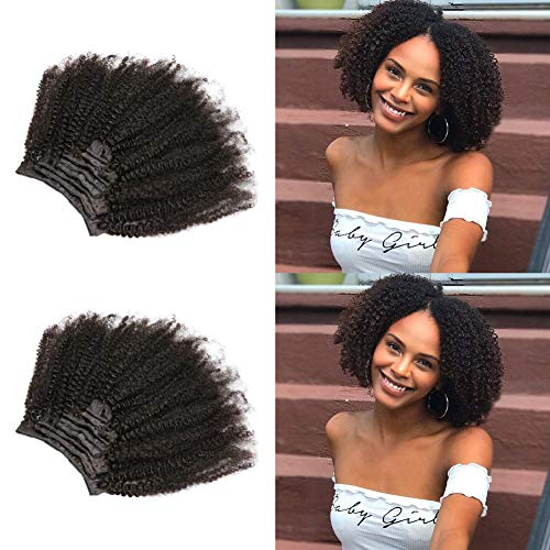Slove Hair African American Afro Kinky Curly Clip in Human Hair Extensions Brazilian Virgin Hair Natural Color 4B 4C Afro Kinky Curly Clip Ins for Black Women 8 Pieces 120g 10inch