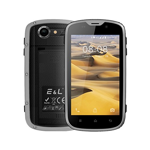 E&L W5 Rugged Unlocked Smartphone with Wateproof IP68 Dustproof 4G LTE Android 6.0 Unlocked Outdoor Phones - 〖AT&T / T-Mobile / Verizon〗 (Gray)