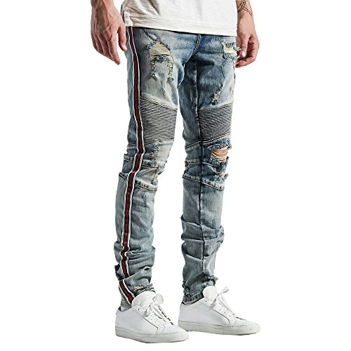 Embellish NYC Tariq Biker Denim Jeans Stone Wash by Embellish NYC