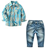 Betusline Kids Kids Clothes Sets, Long Sleeve Button Down Plaid Shirt + Jean Denim Pants Clothing Outfits for Toddler & Little Boys, Blue Green, Tag 6T = US 5-6Y/Height 51.2''