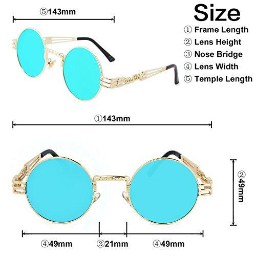 Gafas de Vendimia de Azul Marco Hielo Steampunk Dorado Redondo Gafas Marco Metal AMZTM Lente de Sol dcwYxq8dBX