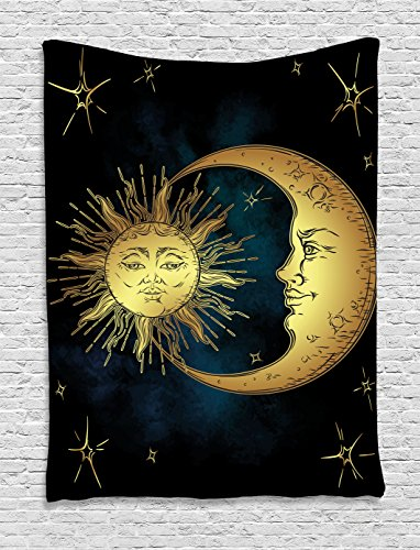 Ambesonne Psychedelic Tapestry, Sacred Moon and Sun in Antique Style Lunar Myth Astrology Zen Art Print, Wall Hanging for Bedroom Living Room Dorm, 40 W x 60 L Inches, Petrol Blue Yellow Antique Tapestry Fabric