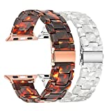TRUMiRR Compatible with Apple Watch Band 42mm 44mm Women, 2 Pack Fashion Resin Watchband Metal Stainless Steel Buckle Strap Bracelet for iWatch Apple Watch Series 4 3 2 1 All Models (Tortoise+Pearl)