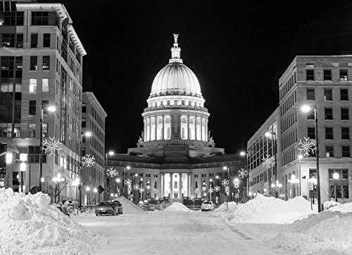 (Capitol, Madison, Wisconsin in Black and White Photograph)