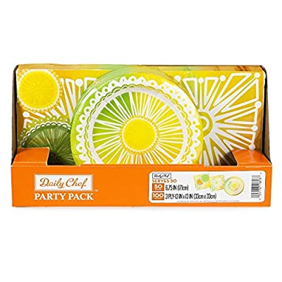 Daily Chef Citrus Punch Party Pack. Disposable Performa Paper Plates and Sturdy Premium 3 Ply Napkin Set. Elegant Tableware Supplies to for Picnics, Wedding and Birthday Parties.