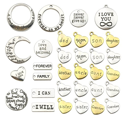 Family Words Charm Collection-32pcs Craft Supplies Heart Moon Love Words Charms Pendants for Crafting, Jewelry Findings Making Accessory For DIY Necklace Bracelet Earrings (Family Words -
