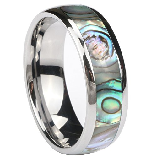 Dannyshi Tungsten Carbide Ring 8mm Engagement Ring with Abalone Shell Inlay