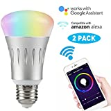 Wifi Smart LED Light Bulb Compatible with Alexa No Hub Required, LinkStyle E27 Smart Wifi Bulb RGB Multi Color Dimmable Daylight Night Light Timer App Control for iPhone iPad Samsung Galaxy(2 Pack)