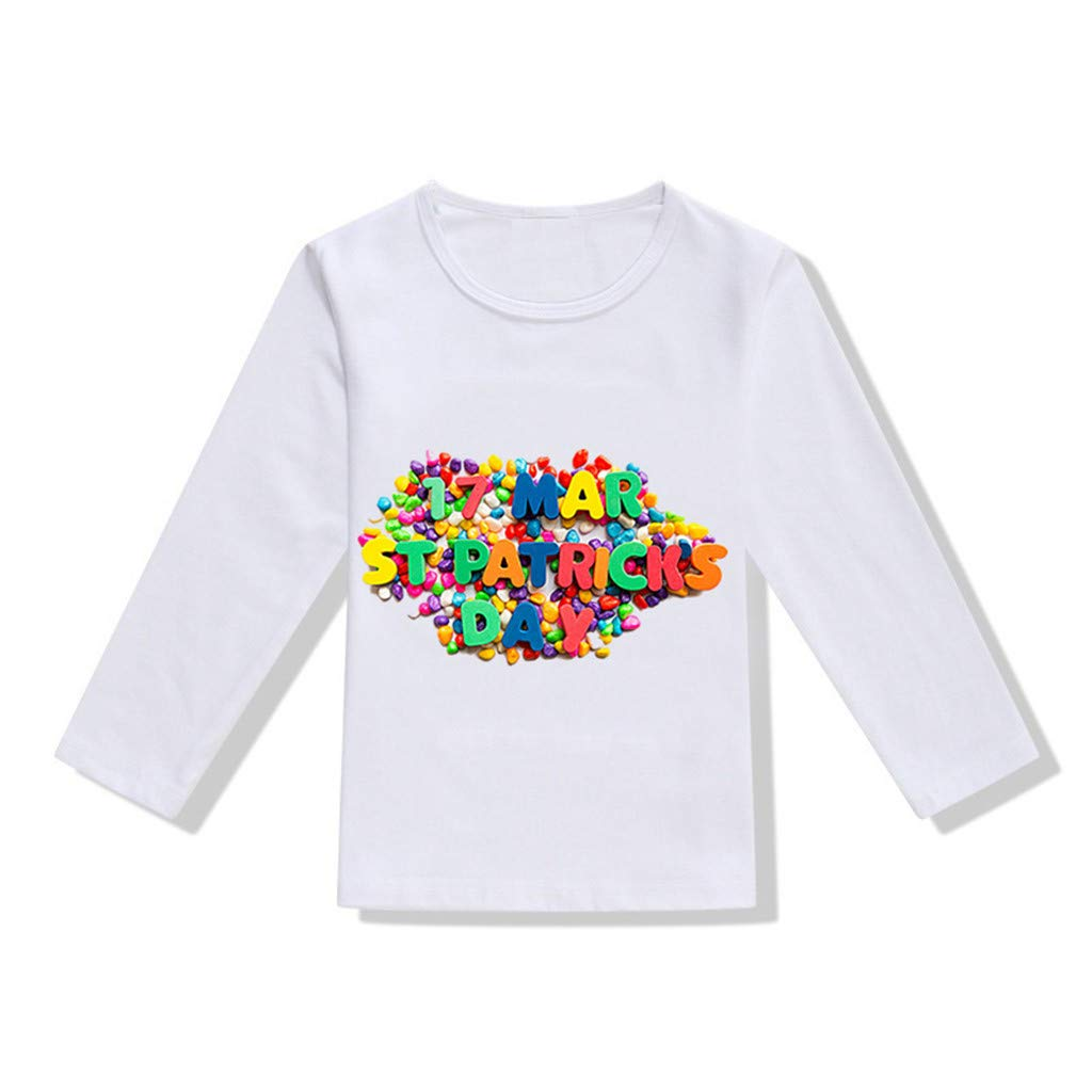 DealinM St.Patrick's Day Clothing, Toddler Baby Girls Boys St.Patrick's Day T Shirt Irish National Day Tops Blouse White