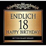 """Udo Schmidt Étiquette autocollante pour bouteille d'anniversaire personnalisée Inscription en allemand """"Endlich 18"""" Spécial anniversaire de 18 ans Doré"""