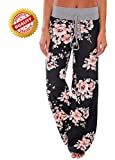 #1: AMiERY Women's Summer Casual Pajama Pants Floral Print Drawstring Palazzo Lounge Pants Wide Leg