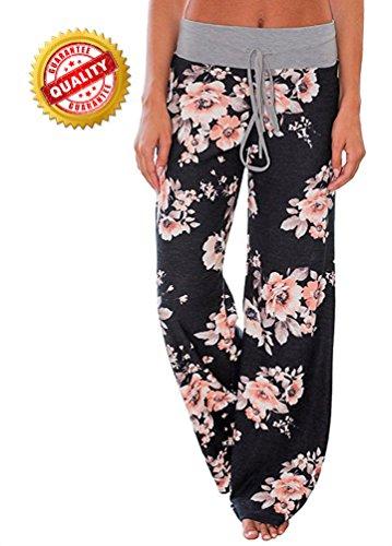 [해외]AMiERY Women 's Casual Pajama 바지 꽃 프린트 드로잉 Palazzo Lounge Pants Wide Leg/AMiERY Women`s Casual Pajama Pants Floral Print Drawstring Palazzo Lounge Pants Wide Leg
