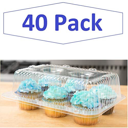40 High Dome Cupcake Boxes | 6 Compartment Clear Plastic Cupcake Carrier - Durable Cupcake Holders | Disposable Cupcake Container Muffin Trays | Cup Cake Packaging -
