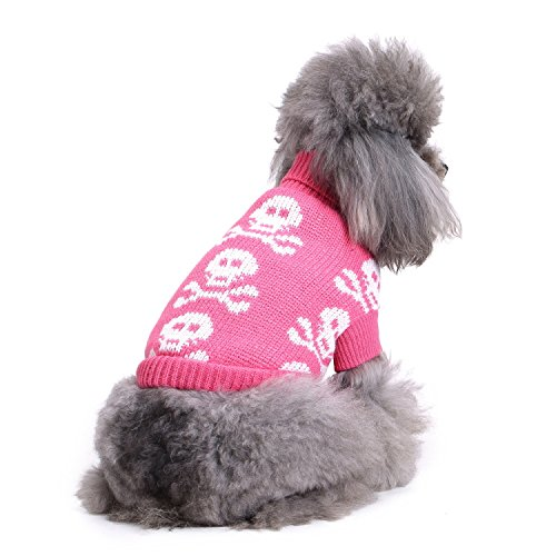 (S-Lifeeling Skull Dog Sweater Holiday Halloween Christmas Pet Clothes Soft Comfortable Dog Clothes - Pink)