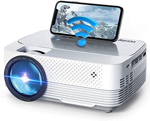 VicTsing Wifi Projector 6000Lux Screen Mirroring, Mini Projector Wireless, 1080P Supported, 200'' Display Compatible with TV Stick, HDMI, VGA, PS4, Laptop etc